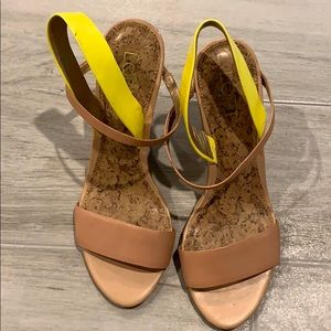 Loft tan and neon yellow wedges. Size 6